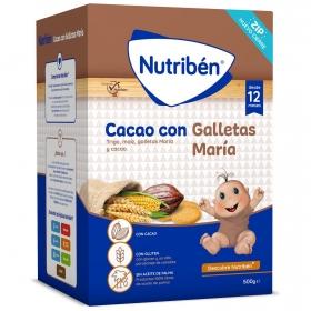 Papilla infantil desde 12 meses de cereales con cacao y galletas María Nutribén 500 g.