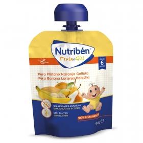 Preparado de pera, plátano, naranja y galleta desde 6 meses Fruta & Go Nutriben bolsita de 90 gr