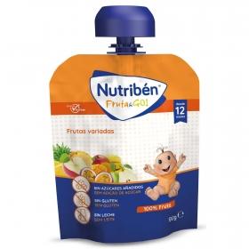 Preparado de futas variadas desde 12 meses sin azúcar añadido Fruta&Go Nutribén sin gluten bolsita de 90 gr