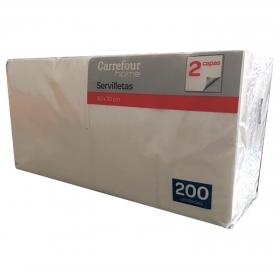 Servilletas 2 capas de Celulosa CARREFOUR HOME 30x9cm - Blanco