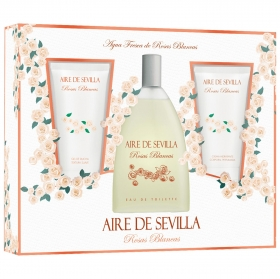Estuche de colonia Aire de Sevilla Rosas Blancas (Crema corporal 150 ml. + Colonia 150 ml. + Gel 150 ml.) 1 ud.