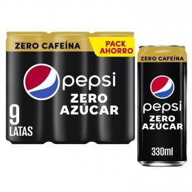Refresco de cola Pepsi Max zero cafeína zero azúcar pack de 9 latas de 33 cl.