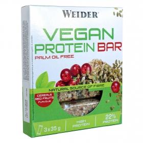Barritas sabor frutos rojos Weider pack de 3 barritas de 35 g.