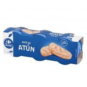 Paté de atún con aceite de girasol Carrefour pack de 3 unidades de 80 g.