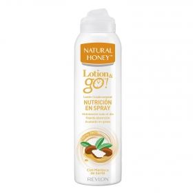 Loción corporal spray con manteca de karité Lotion & go Natural Honey 200 ml.