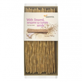 Pan crujiente semillas de sésamo, lino y alcaravea Danvita 130 g.