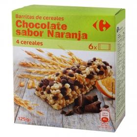 Barritas de cereales con chocolate y naranja Carrefour 6 unidades de 25 g.