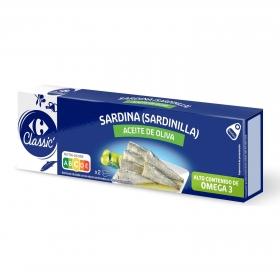 Sardinillas en aceite de oliva Carrefour pack de 2 unidades de 65 g.