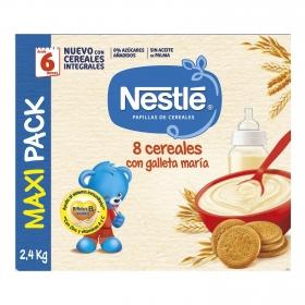 Papilla infantil desde 6 meses 8 cereales con galleta maria sin azucares añadidos Nestlé sin aceite de palma  2400 g.