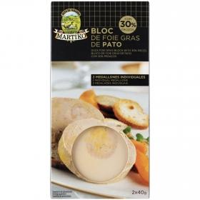 Bloc de foie gras de pato con trozos Martiko pack de 2 unidades de 40 g.
