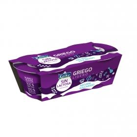 Yogur griego ligero azucarado natural Kaiku sin lactosa pack de 2 unidades de 90 g.