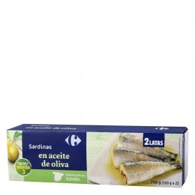 Sardinas en aceite de oliva Carrefour pack de 2 unidades de 120 g.
