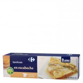 Sardinas en escabeche Carrefour pack de 2 unidades de 120 g.