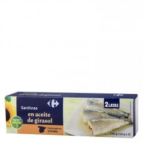 Sardinas en aceite de girasol Carrefour pack de 2 unidades de 120 g.