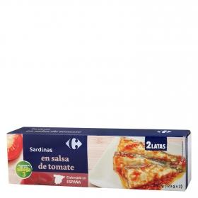 Sardinas en salsa de tomate Carrefour pack de 2 unidades de 120 g.