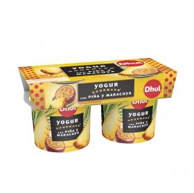 Yogur con piña y maracuyá Dhul-Gourmand pack de 2 unidades de 150 g.