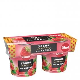 Yogur con fresa Dhul Gourmand pack de 2 unidades de 150 g.