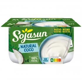 Preparado de soja con coco Sojasun sin lactosa pack de 4 unidades de 100 g.