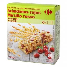 Barritas de cereales con arándonos rojos Carrefour 6 unidades de 21 g.