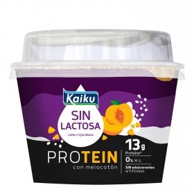 Yogur desnatado con melocotón Protein Kaiku sin lactosa 150 g.