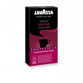 Café deciso en cápsulas Lavazza compatible con Nespresso 10 unidades de 5 g.