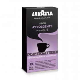Café lungo avvolgente en cápsulas Lavazza compatible con Nespresso 10 unidades de 5 g.