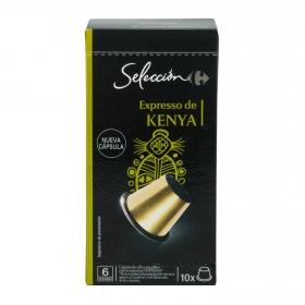 Café espresso de Kenya en cápsulas Carrefour Selección compatible con Nespresso 10 unidades de 5,2 g.
