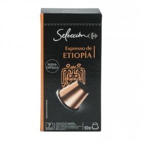 Café espresso de Etiopia en cápsulas Carrefour Selección compatible con Nespresso 10 unidades de 5,2 g.