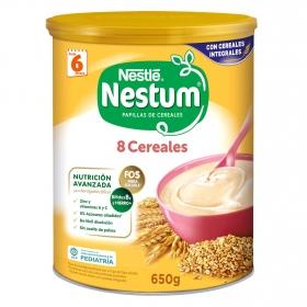 Papilla infantil desde 6 meses de 8 cereales integrales sin azúcar añadido Nestlé Nestum sin aceite de palma 650 g.