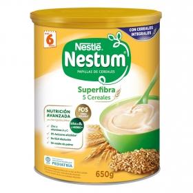 Papilla infantil desde 6 meses de 5 cereales integrales sin azúcar añadido Nestlé Nestum superfibra sin aceite de palma 650 g.