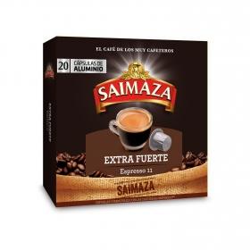 Café extra fuerte en cápsulas Saimaza compatible con Nespresso 20 unidades de 5,2 g.