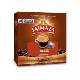 Café fuerte en cápsulas Saimaza compatible con Nespresso 20 unidades de 5,2 g.