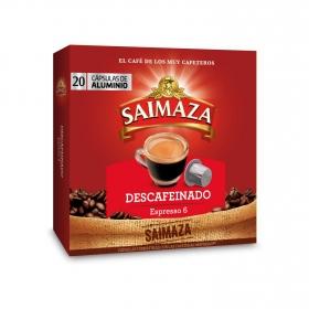 Café descafeinado en cápsulas Saimaza compatible con Nespresso 20 unidades de 5,2 g.