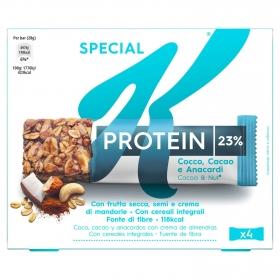 Barritas de cereales con coco, cacao y anarcardos con crema de almendra Special K Kellogg's 4 unidades de 28 g.