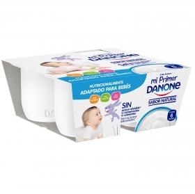 Yogur natural Mi primer Danone pack de 4 unidades de 100 g.