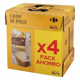 Caldo de pollo Carrefour sin gluten pack de 4 briks de 1 l.