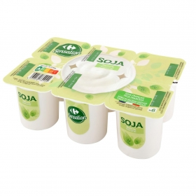 Preparado de soja natural Carrefour pack de 6 unidades de 100 g.