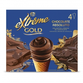 Conos con helado de chocolate absoluto Extrême Gold Nestlé 4 ud.