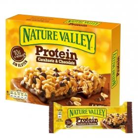 Barritas de proteínas sabor cacahuete y chocolate Nature Valley sin gluten pack de 4 barritas de 40 g.