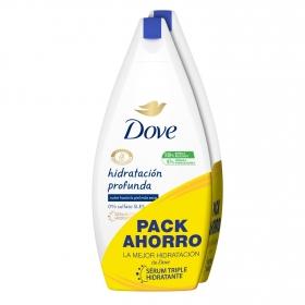 Gel de ducha hidratación profunda Dove pack de 2 unidades de 500 ml.