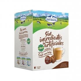 Café con leche en cápsulas Central Lechera Asturiana compatible con Dolce Gusto 16 unidades de 10 g.