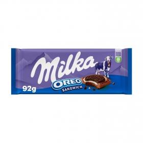 Chocolate con leche con galleta oreo Milka 92 g.