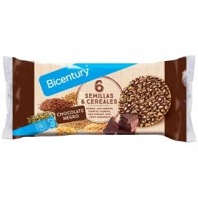 Tortitas de maíz con chocolate negro, 6 semillas y cereales Bicentury 112 g.