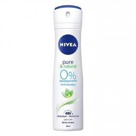Desodorante en spray pure & natural sin aluminio Nivea 150 ml.