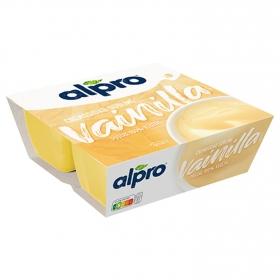 Postre de soja sabor vainilla Alpro pack de 4 unidades de 125 g.