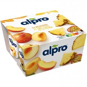Preparado de soja sabor melocotón y piña-fruta de la pasión Alpro sin lactosa pack de 4 unidades de 125 g.