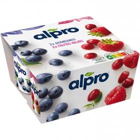 Preparado de soja sabor arándanos y frutos rojos Alpro sin lactosa pack de 4 unidades de 125 g.