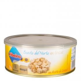 Bonito del norte en aceite de girasol en trozos Ribeira sin gluten 588 g.
