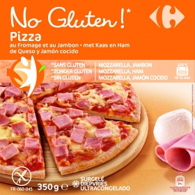 Pizza de jamón y queso Carrefour No gluten sin gluten 350 g.