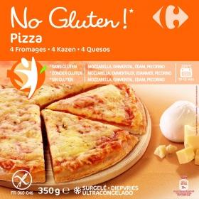 Pizza 4 quesos Carrefour No gluten sin gluten 350 g.